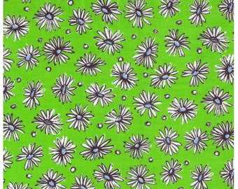 HALF YARD Yuwa - White Daisies and Dots on Lime Green - Suzuko Koseki 816899-C - Japanese Import Fabric - Aqua and black
