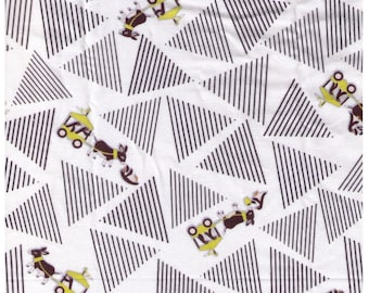"""End of Bolt - 1 yd 35"""" Cut - Yuwa - Slow Travelers by Anyan on White - Donkey and Penguin pulling Cart - Cotorienne Japanese Fabric"""