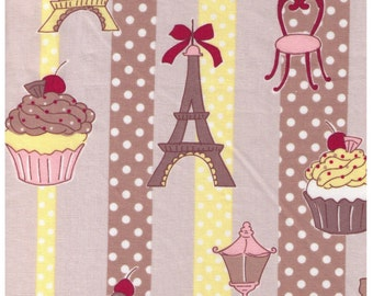 HALF YARD  Yuwa - Cupcakes, Street Lamp and Eiffel Tower on TAN - 812940 D Yellow and Brown Stripes - Polka Dot, Bow, Chocolate - Japanese