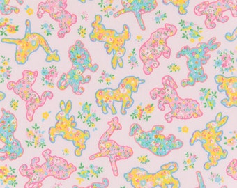 HALF YARD Joli Pomme Flower Animal Cookies on PINK - Elephant, Bunny, Tiger, Unicorn, Ostrich, Cat,  - Cosmo Textile Japanese Fabric