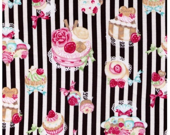 HALF YARD - Kawaii Sweets on White and Black Stripes, Cakes, Rose, Strawberries, Bow, Cosmo Textiles - Japanese Import