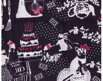 HALF YARD - Kayo Horaguchi - Terriers and Bunnies in the Kitchen on Black - Kiyohara Imported Japanese