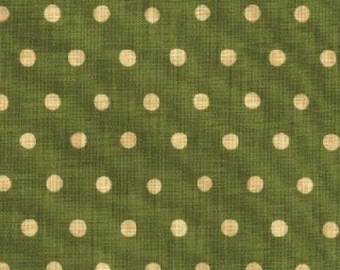 HALF YARD Kokka Fabric - Echino Polka Dots - Green with Ivory Dots - Japanese JG95000-504E