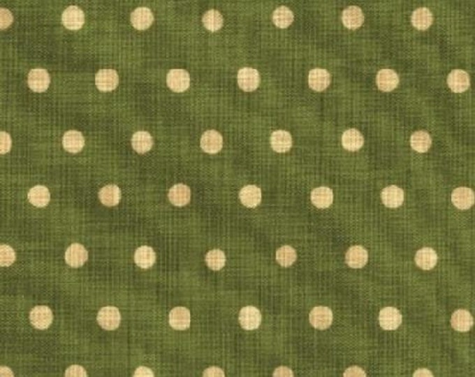 HALF YARD Kokka Fabric - Echino Polka Dots - Green with Ivory Dots - Japanese JG95000-504E