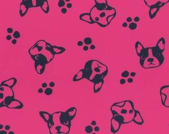 PRE-CUT Half Yard - Lecien - French Bulldog and Paw Prints on PINK background - Nylon Taffeta - Flowers - Japanese Import