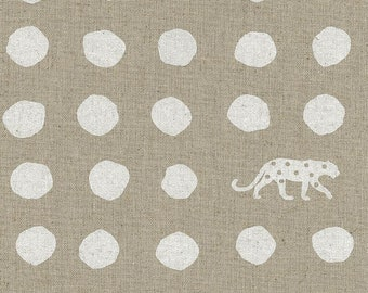 HALF YARD Kokka Echino - PANTHER Ekx97000-702A -  White on Natural - Geometric Dots and Jaguar - Cotton Linen