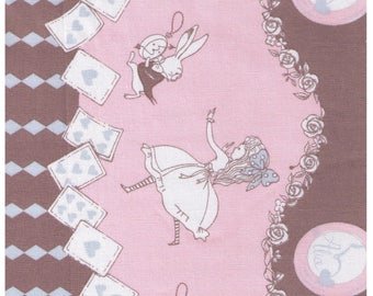 HALF YARD - Alice in Wonderland in Putty, Pink and Blue by Shinzi Katoh  - Border Print - Cotton Oxford - Japanese Import