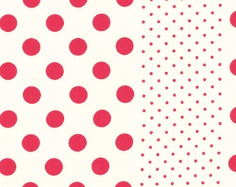 HALF YARD Lecien - Orchard Kitchen 2017 - RED Polka Dot Stripes on White 31740-30 - Japanese Import