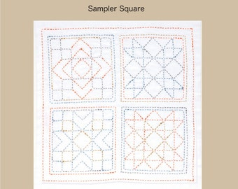 "TULIP - Sashiko Kit - AMERICA Sampler Square - 12"" Pillow Dish towel - Hand Quilting & Stitching- Japanese"