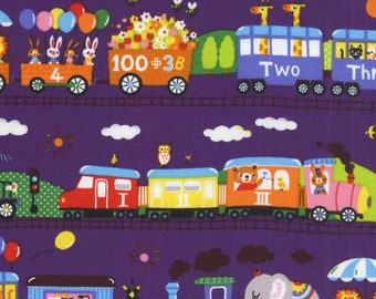 HALF YARD - Kokka - Animal Train in Purple - LO-36080 2A - Oxford - Transportation, Circus, Giraffe, Lion, Elephant, Cow, Panda
