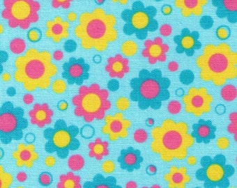 HALF YARD Flowers on Aqua Blue - Yellow, Pink and Blue Daisies - Lecien - Tiny Prints 40194-70 TP Collection - Japanese Imported Fabric