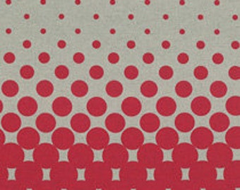 HALF YARD - First of Infinity Linen Collection 31236-30 Stardust Circles - Watermelon Red on Natural Cotton Linen Blend - Geometric  Lecien