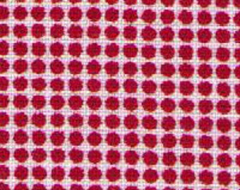 HALF YARD - Red Ultra Mini Polka Dots on White 30816-30 - Retro 30s Child Smile Collection Lecien - Tiny, Small, Grid - Japanese