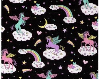 HALF YARD Cosmo Textile - Vanilla Pop - Winged Unicorn Sky Mix on BLACK - AP45505-1E - Pegacorn, Mythical, Heart, Rainbow, Cloud - Japanese