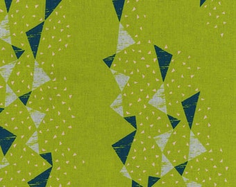 HALF YARD Kokka - Tayutou TRIANGLES Blue, Grey, and Pink on Green- Ekx5100-3B By Fabrica Uka - 45 Cotton/55 Linen Canvas - Japanese Import
