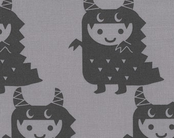 HALF YARD Kiyohara - Boys and Monsters on Grey - Puti De Pome - PTMF 121 Gry - Cotton Linen Blend - kaiju kigurumi - Import