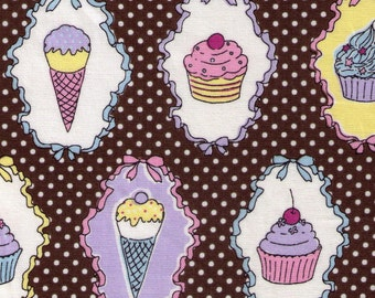 HALF YARD Yuwa - Ice Cream Cones and Cupcakes on Brown - 812920 White Polka Dot, Cherry, Chocolate Sundae, Sprinkles - Imported Japanese