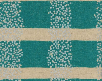 HALF YARD Kokka Echino - FIELD Aqua with Silver Metallic dots  - Jg97030-32B - Cotton Linen Canvas