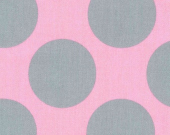 HALF YARD Kokka - Teiban Extra Large Dots - Grey Extra Large Dots on PINK 69080-2D - Japanese Import Fabric