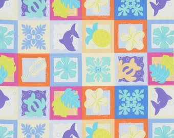 HALF YARD Lecien - Island Style Kathy Mom 2018  Cheater Blocks 20107-70 - Blue/Purple/Yellow Floral - Gardenia, Hawaii - Japanese Import