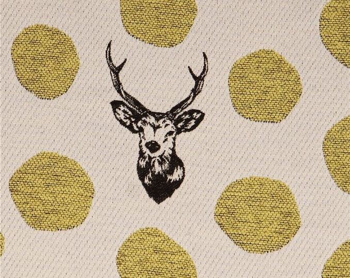 Featured listing image: HALF YARD Kokka Sanbar - Yellow Chenille and Black Deer Stags with Gold Woven in Natural 96150-50 - Polyester Jacquard - 100cm Wide - Japan