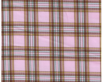 HALF YARD Cosmo Textile - Vanilla Pop Plaid in PINK - AP81407-A - Cotton Twill - Japanese Import - Pink, Yellow, Aqua, Brown