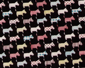 HALF YARD Kokka Fabric - Multi colored Scotties on Black - Scotty Dogs Stripes, Polka Dots, Stars, Checkers - Japanese Import Fabric