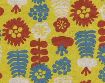 HALF YARD Kokka Eggpress - Large Flowers 5400-3B - Burnt Red, Blue and Natural on Yellow Lightweight Canvas  - 80 Cotton 20 Linen