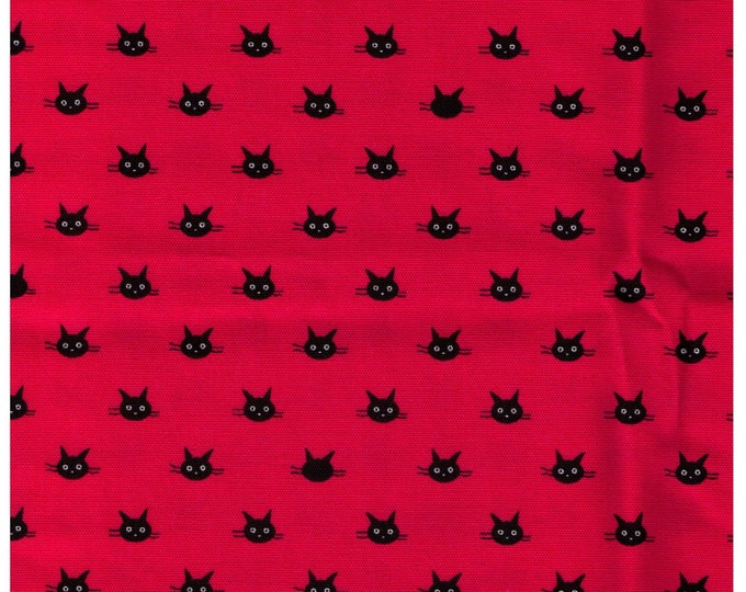 HALF YARD Coco Land Cat Face on Bright Pink - Cocoland Kitties - Black Kitty Head - Japanese Import Fabric