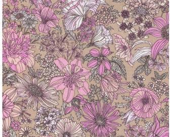 HALF YARD Lecien - Memoire a Paris - Wild Flowers on Beige - 820814L-90 - Cotton Broadcloth - Floral, Flower, Botanical - Japanese