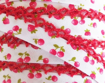One Yard - Double Fold Crochet Edge Bias Tape - Red Cherries and Strawberries on WHITE - Red Crochet - Cherry, Fruit, Strawberry, Berry