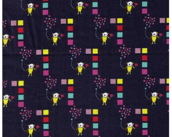 HALF YARD Creative Thursday - The Tinies - JG-50200-200D - Bear with Rose Balloons on Navy - Heart Block Maze - Cotton Sheeting