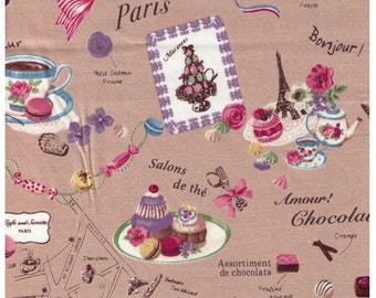 HALF YARD Yuwa - Sweets Rondeaux - Paris Map of Sweets on Stone - Macaron, Tea, Pastry, Eiffel Tower, Paris, Chocolate Japanese Imported