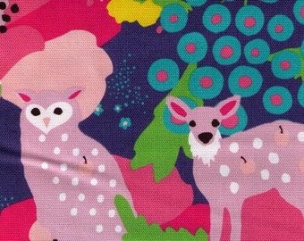 HALF YARD - Kayo Horaguchi - Air Balloon Ride BLUE -  Kiyohara Imported Japanese - Deer, Owl, Flowers, Forest, Rainbow