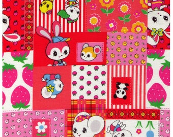 HALF YARD Honey Tune - Patchwork Pink, Red and Orange - by Koko Seki - Strawberries Bunny Flowers Bear - Lecien Japanese