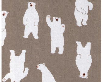 HALF YARD - Waving Polar Bears on STONE Beige - 850210-2-2 - Rows of Polar Bear - Cotton Oxford - Japanese Imported Fabric