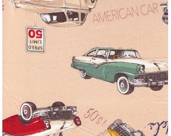 HALF YARD Yuwa - 50s Classic Cars on Tan - 826578-A - Suzuko Koseki - Route 66 - Japanese Fabric