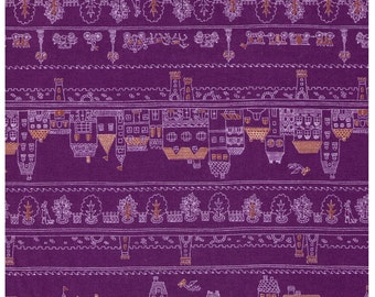 """End of Bolt - 18"""" Cut - Village and Forest Rows on PURPLE - Houses, Trees, Flowers, People, Bicycle, Carriage, Castle, Lamp Post"""