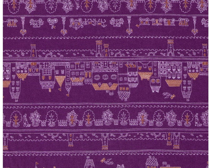 """Last Chance EOB - 18"""" Cut - Village and Forest Rows on PURPLE - Houses, Trees, Flowers, People, Bicycle, Carriage, Castle, Lamp Post"""