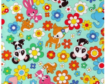 HALF YARD Cosmo Textile - Kawaii Animals and Flowers on Mint Green  02405-2C - Panda, Duck, Elephant, Bunny, Rabbit - Japanese Import