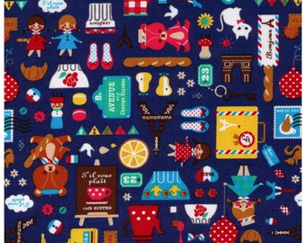 HALF YARD - French Mix on BLUE 41410-1E - Bears, Cooking, Travel, Teapot, Mushroom, Paris, France, Cat, Bonjour - Cosmo Textile