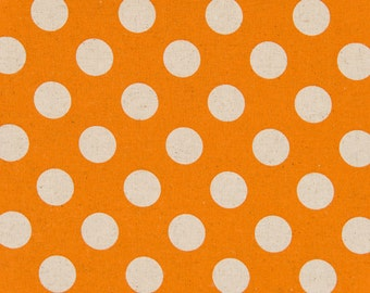 HALF YARD - Cosmo Textile Large Natural Polka Dots on Orange - Cotton Linen Canvas - Japanese Import Fabric