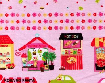 HALF YARD Bunny City Border on Pink - Nico Nico Land 40320-20 - Car, Village, Hot Dog, Flower Shop, Roba No Panya - Lecien - Japanese Fabric