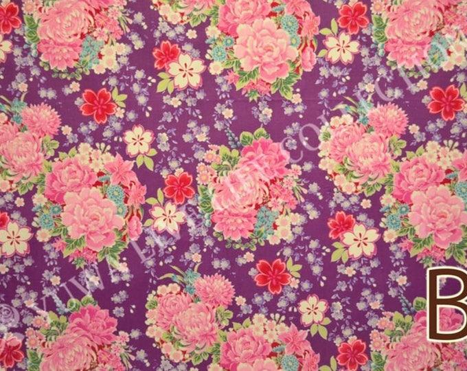 "Last Chance EOB - 16"" Cut - Yuwa - Sakura  Chrysanthemum Flowers on Purple - Cherry Blossom, Traditional Japanese Flowers Asanoha - 829315-B"