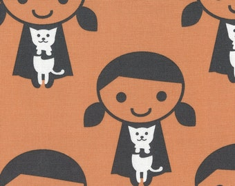 HALF YARD Kiyohara - Girl and Her Cat on Orange - Puti De Pome - PTMF 120 Or - Cotton Linen Blend - Kitten, kitty - Import