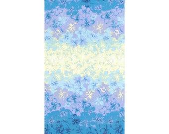 HALF YARD Lecien - Island Style Kathy Mom 20105-70 - Blue/Purple/Yellow Floral w Iridescent sparkle  - Gardenia, Hawaii - Japanese Import