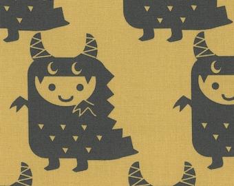 HALF YARD Kiyohara - Boys and Monsters on Yellow - Puti De Pome - PTMF 121 Y - Cotton Linen Blend - kaiju kigurumi - Import