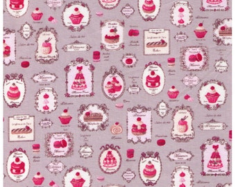 PRECUT - One Yard Precut - Yuwa Paris French Patisserie on GREY - Reduced Print -  Éclair, Macarons, Palmier, Tart, Cake, Cupcake, Dessert