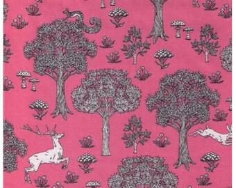 Sale (25) HALF YARD - Line Drawing Woodland on Pink 38500-500C - Toadstool, Mushroom, Fox, Rabbit, Trees, Deer, Bunny, Flower -  Japanese
