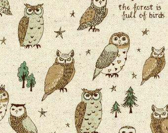 HALF YARD - Kokka - Animal World - Forest Full of Birds - 56030 2A - Cotton Linen Blend - Owl - Japanese Import